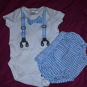 Onesie set, faux suspenders and bowtie